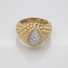 Bague forme goutte deux ors pavage de diamants