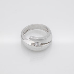 Bague jonc moderniste or gris diamant