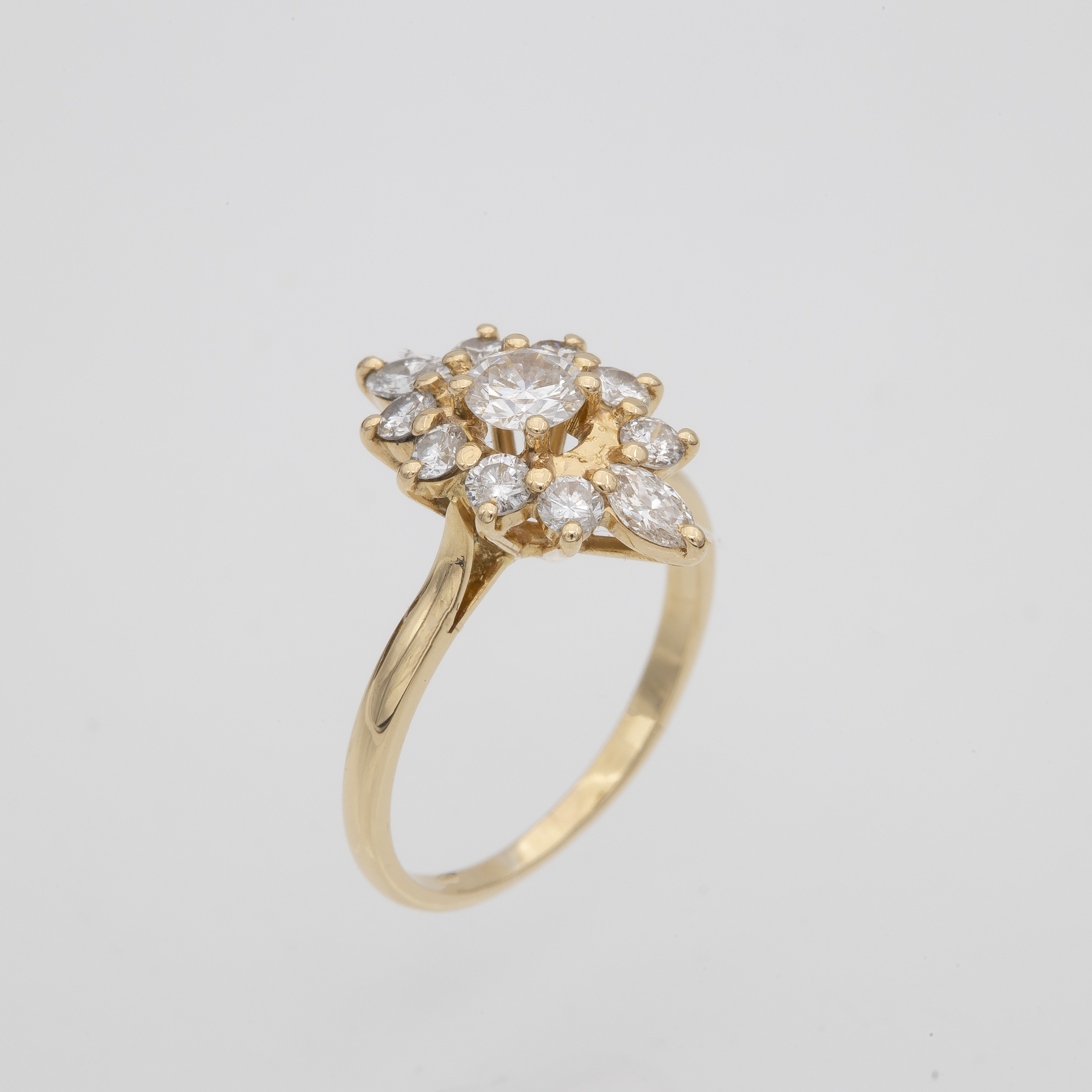 Bague or jaune marquise diamants