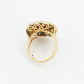 Bague marguerite or jaune rubis et diamants