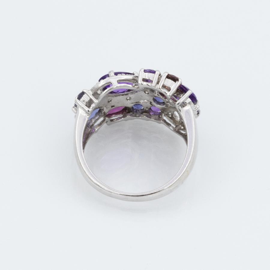 Bague jonc en or gris avec diamants tourmalines et améthystes