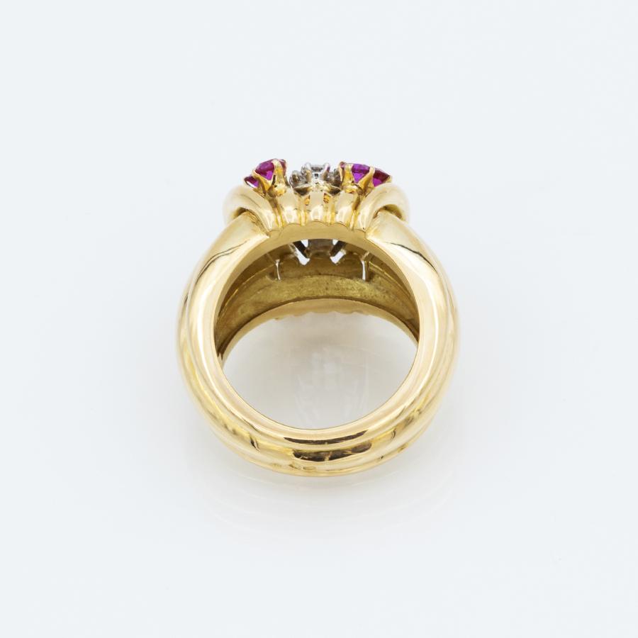 Bague jonc en or avec diamants et rubis synthétiques