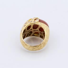 Bague Corail diamants deux couleurs