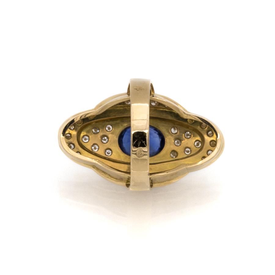 Bague à gradins en or jaune, saphir et 36 diamants