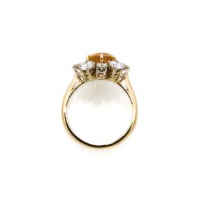 Bague marguerite en or jaune, saphir orange et entourage 8 diamants