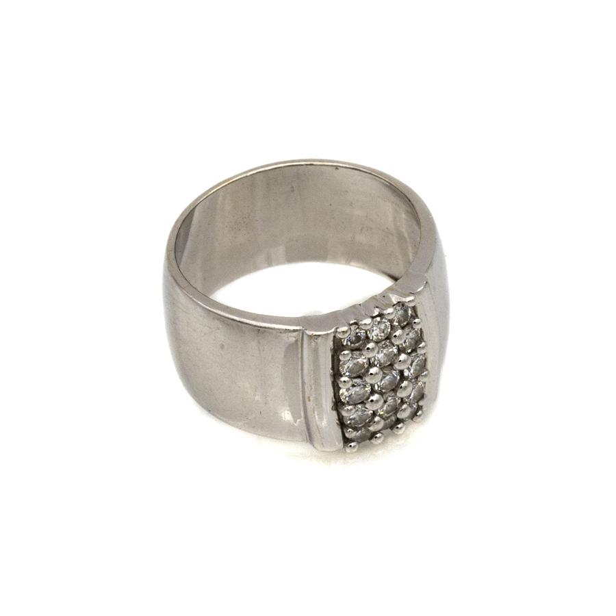 Bague jonc plate en or gris et 15 diamants