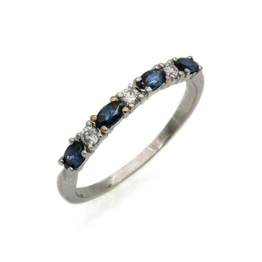 Bague demi-alliance en or gris, 4 saphirs et 3 diamants