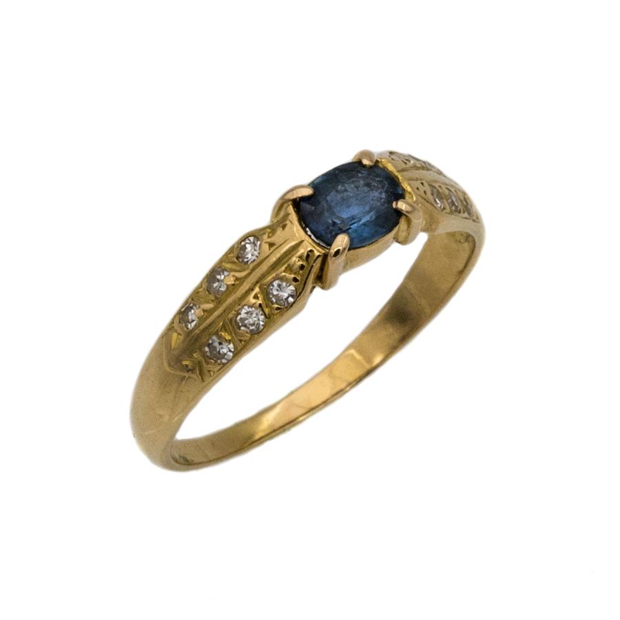 Bague jonc en or jaune, saphir et 12 diamants