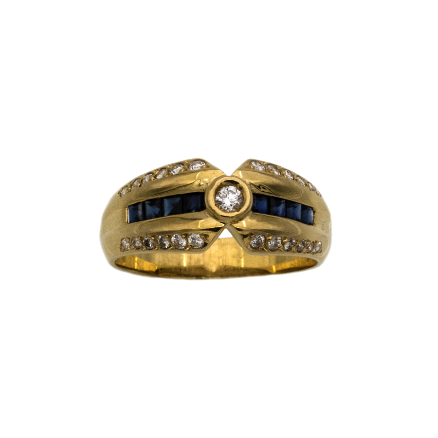 Bague jonc en or jaune, 8 saphirs et 25 diamants