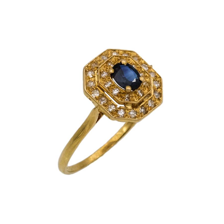 Bague double entourage en or jaune, saphir et 28 diamants