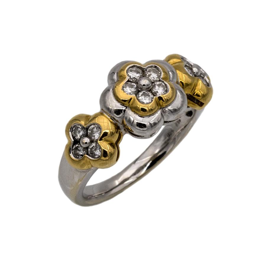 Bague motifs floraux en 2 ors et 13 diamants