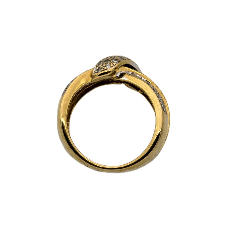 Bague nœuds en or jaune, 12 saphirs et 53 diamants