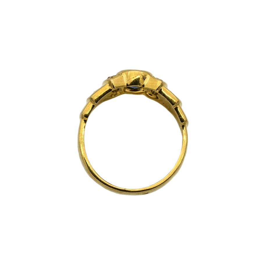 Bague jonc en or jaune, saphir et 8 diamants