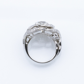 Bague jonc en or gris et diamants