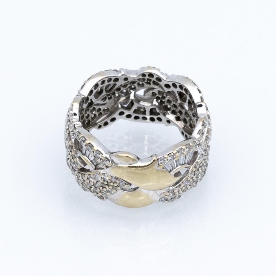 Bague tresse en or gris et diamants
