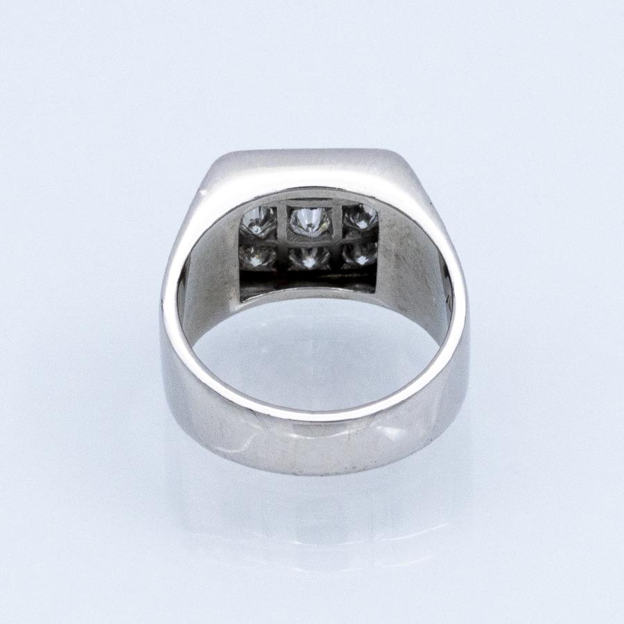 Bague chevalière carrée en or gris et 9 diamants