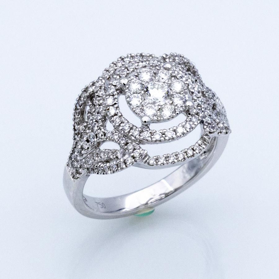 Bague volutes en or gris et diamants