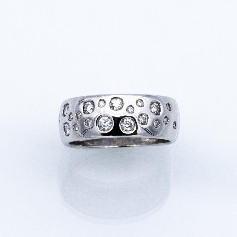 Bague jonc en or gris et 20 diamants