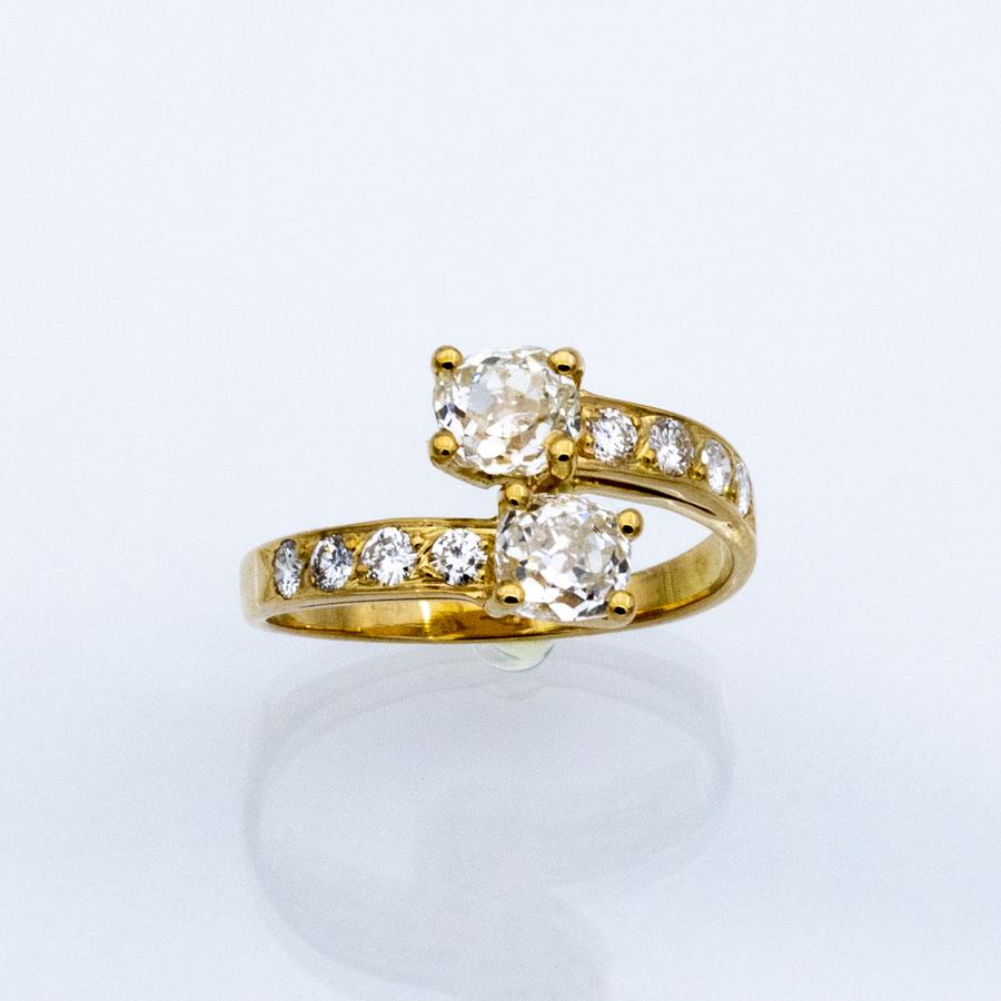 Bague toi et moi en or jaune et 10 diamants