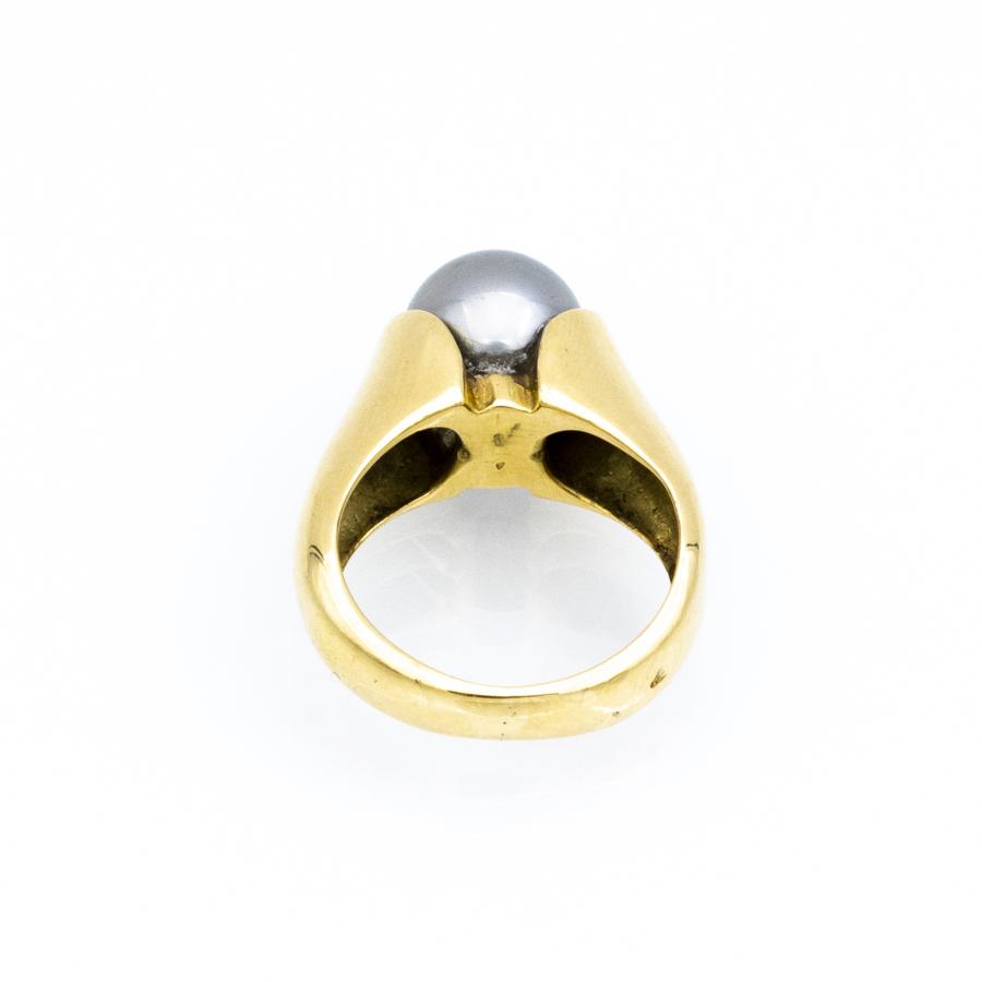 Bague jonc en or jaune et perle de Tahiti