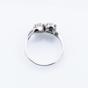 Bague toi et moi en or gris et diamants