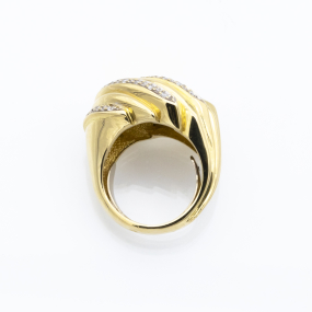 Bague jonc volutes en or jaune et diamants