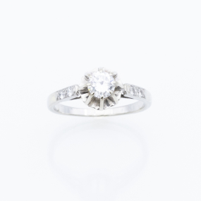 Bague Solitaire en or gris et 5 diamants