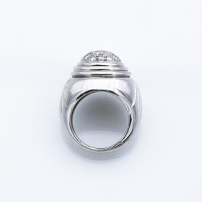 Bague jonc en or gris et 19 diamants