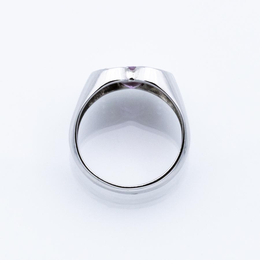 Bague jonc en or gris, saphir rose et 10 diamants