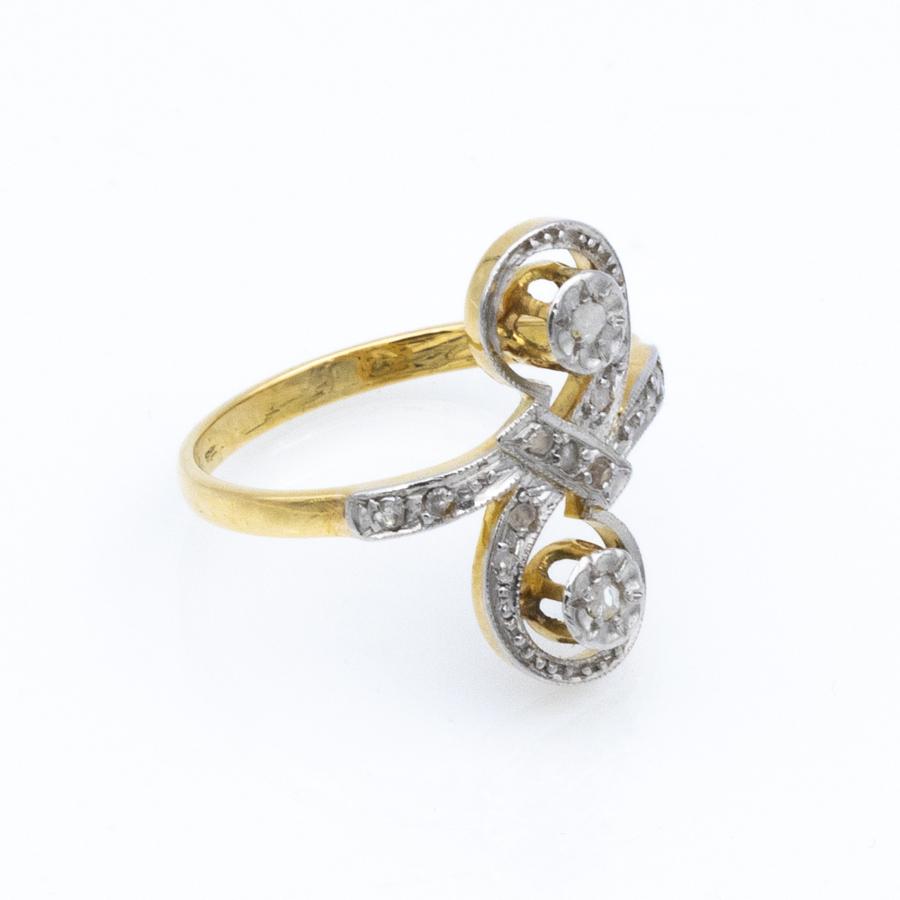 Bague Toi et Moi en or jaune et 13 diamants
