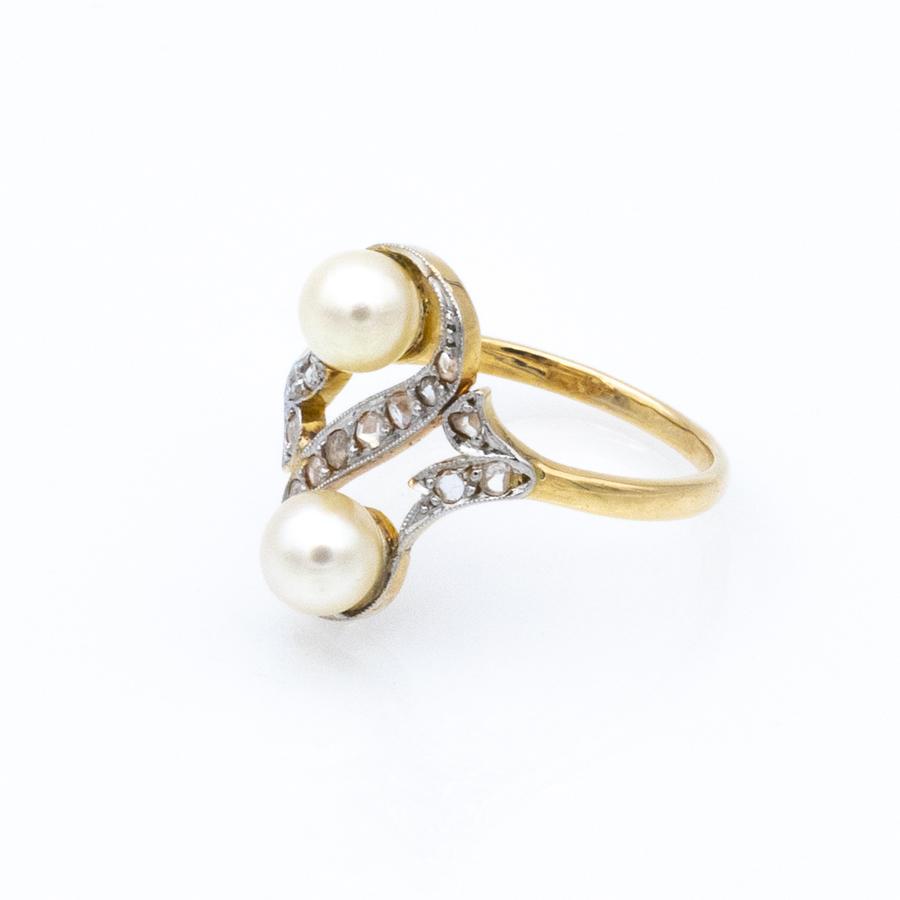 Bague Toi et Moi en or jaune et perles et diamants