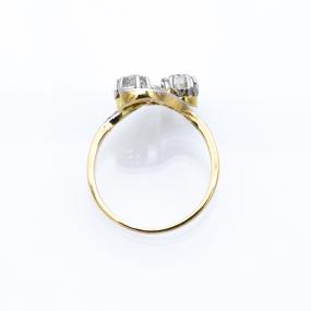 Bague Toi et Moi en 2 ors et 13 diamants