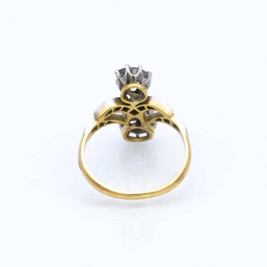 Bague Toi et Moi en or jaune et 14 diamants