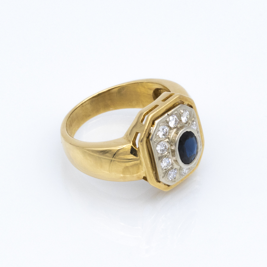 Bague jonc en or, saphir et 10 diamants