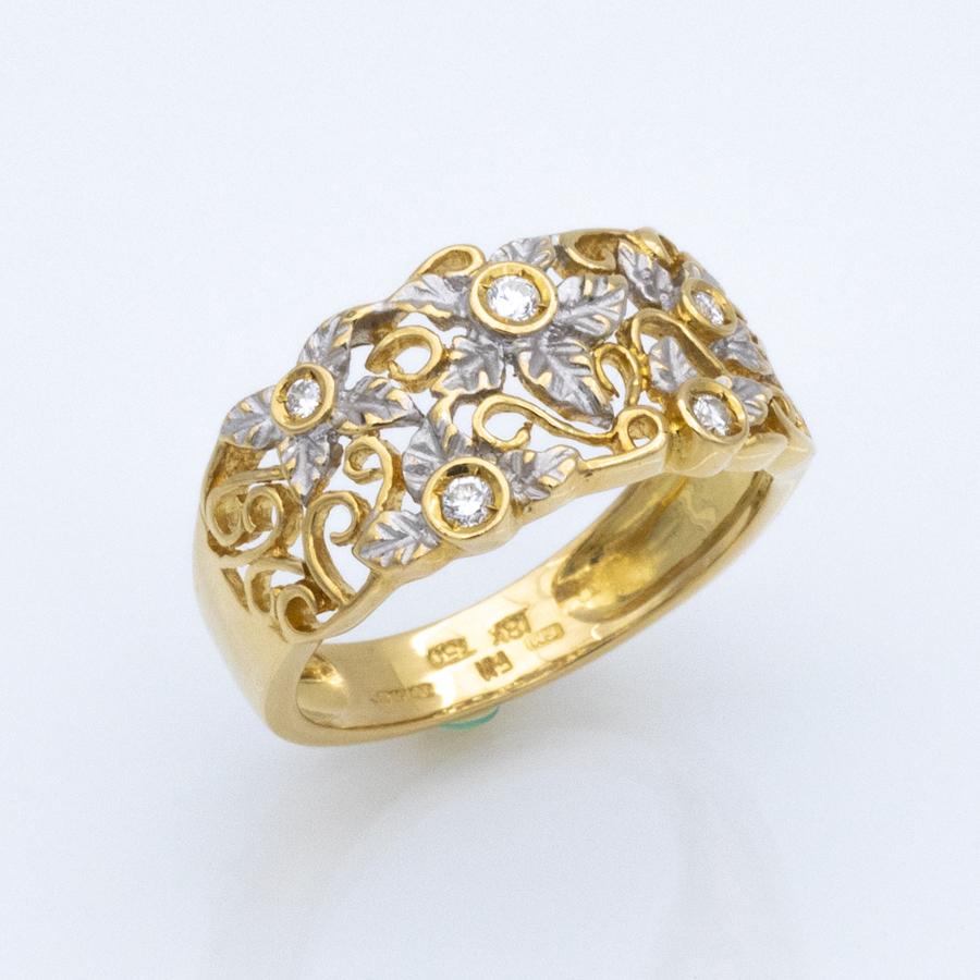 Bague bandeau en or et 5 diamants