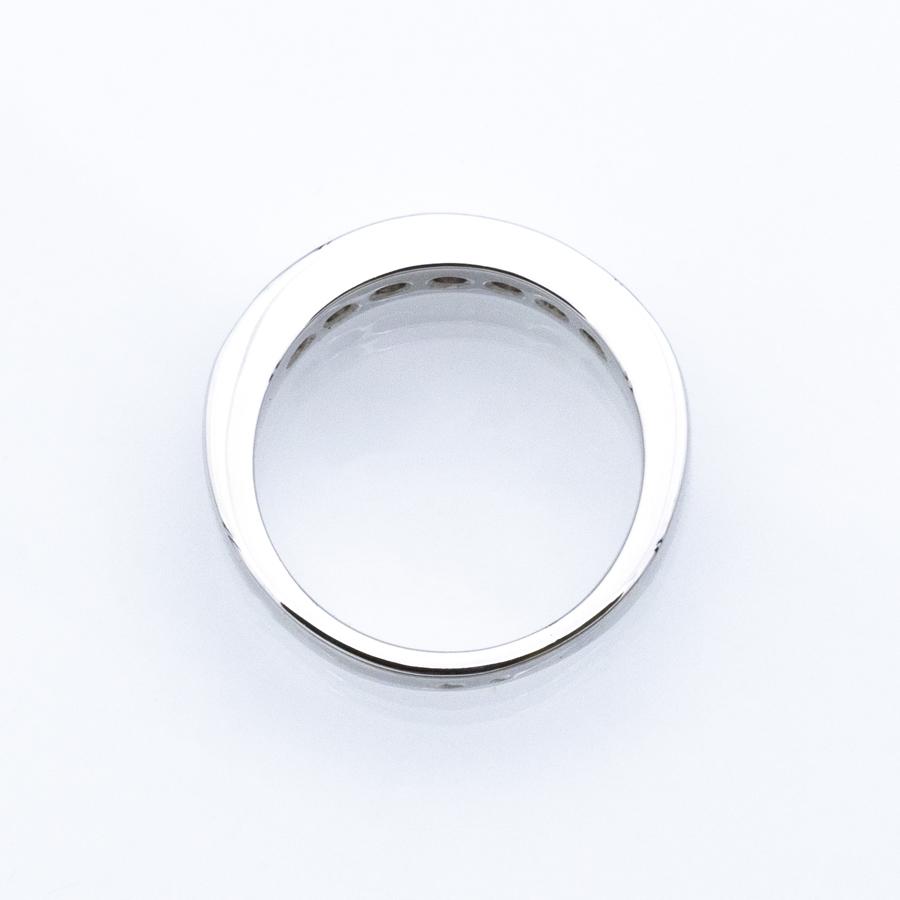 Bague Demi-alliance rail en Or gris et 7 diamants