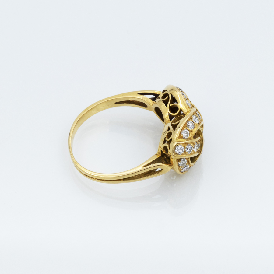 Bague torsade diamants en or jaune