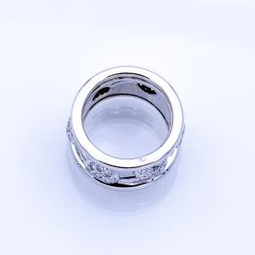 Bague plate en or gris et 54 diamants