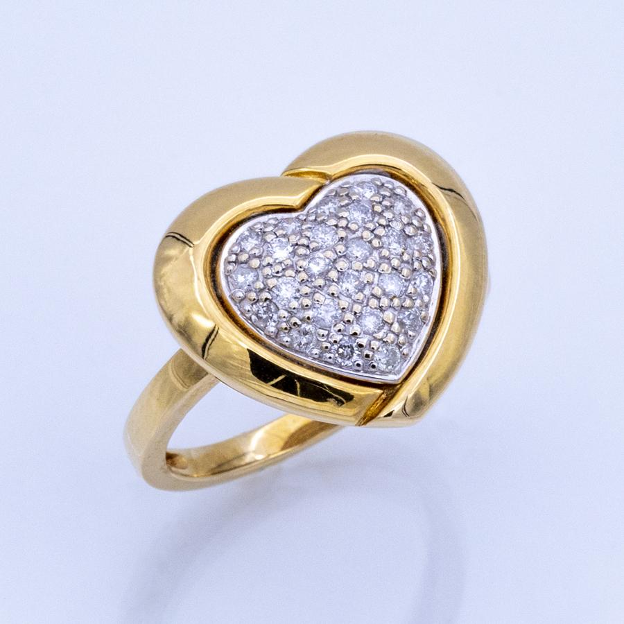 Bague cœur en 2 ors et pavage 24 diamants