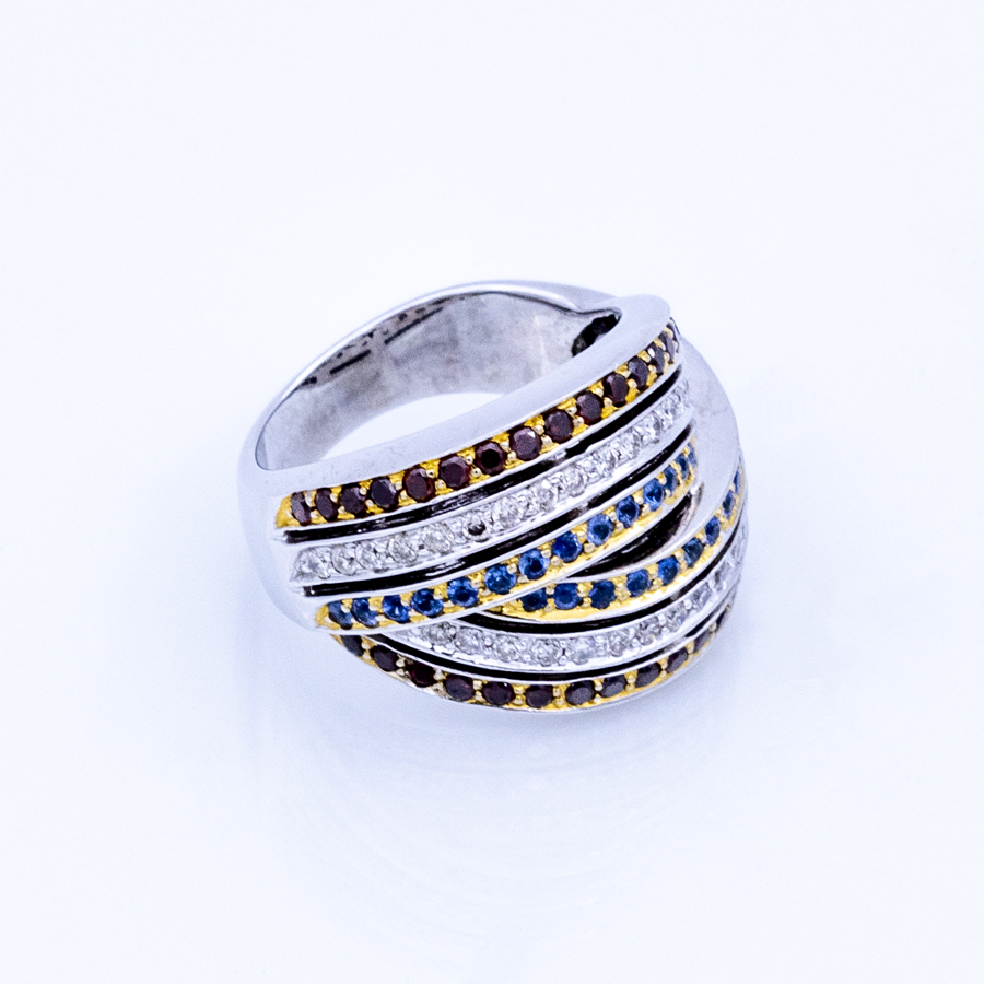 Bague torsades 6 rangs en 2 ors, 36 grenats, 28 spinelles et 34 diamants
