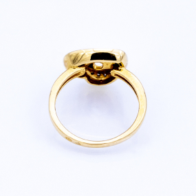 Bague cœur en or jaune et 11 diamants