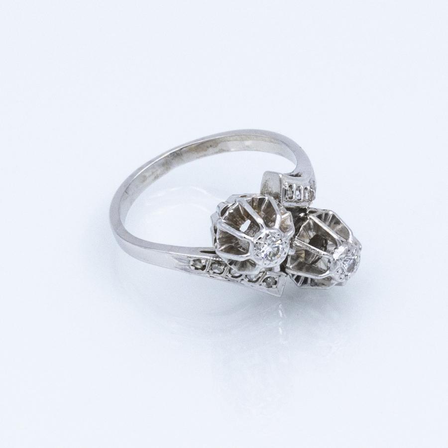 Bague toi et moi en or gris et 12 diamants