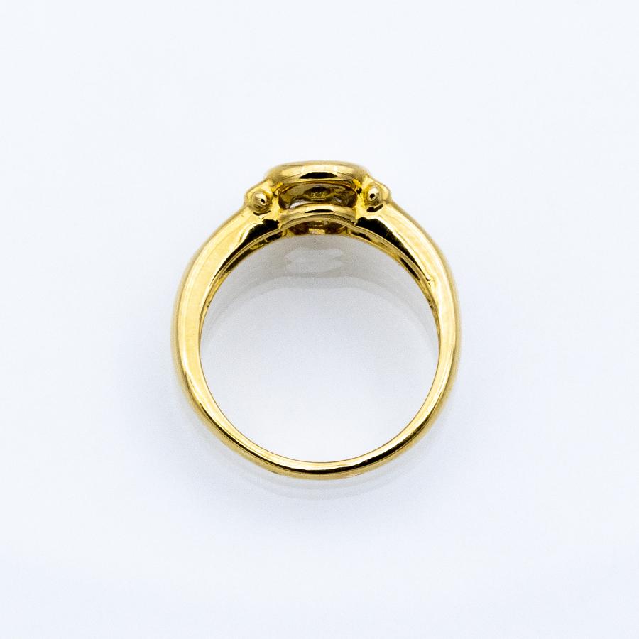 Bague jonc en or jaune 2 saphirs et 8 diamants