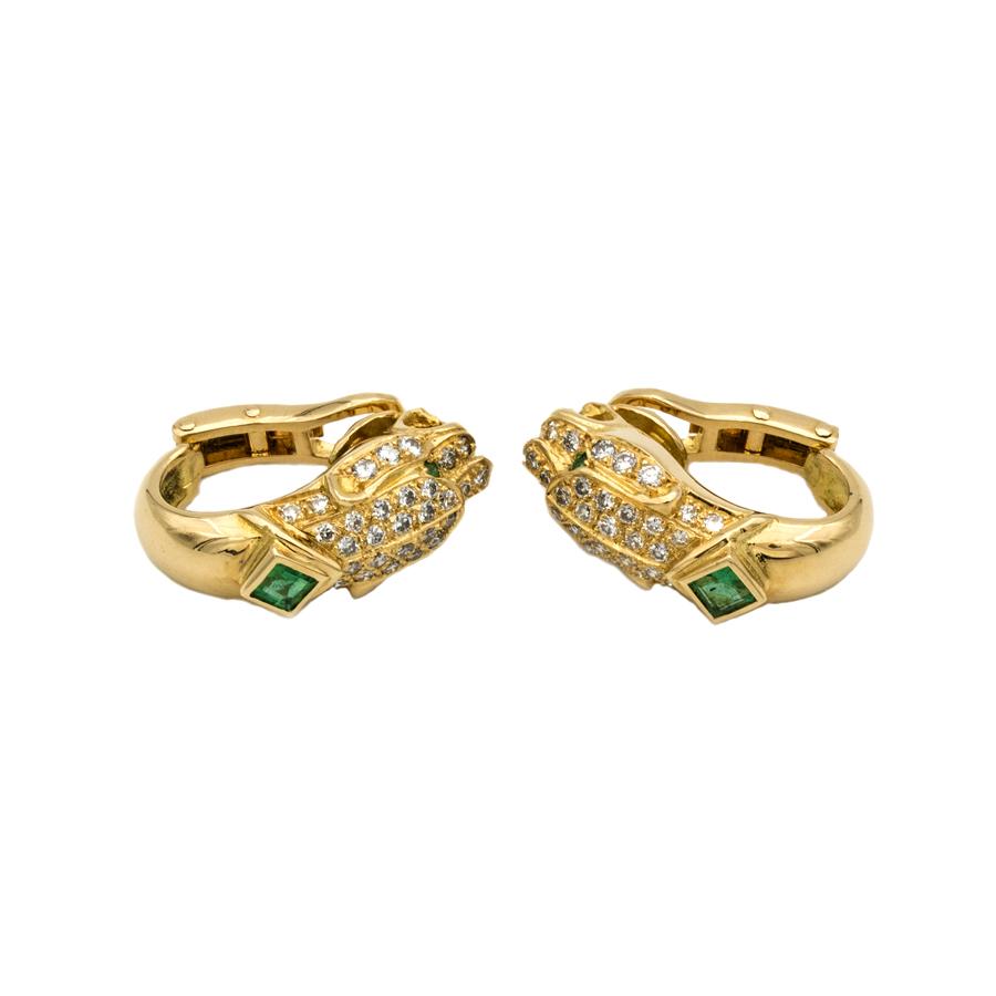 Boucles d'oreilles Panthères en or jaune, 6 émeraudes et 72 diamants