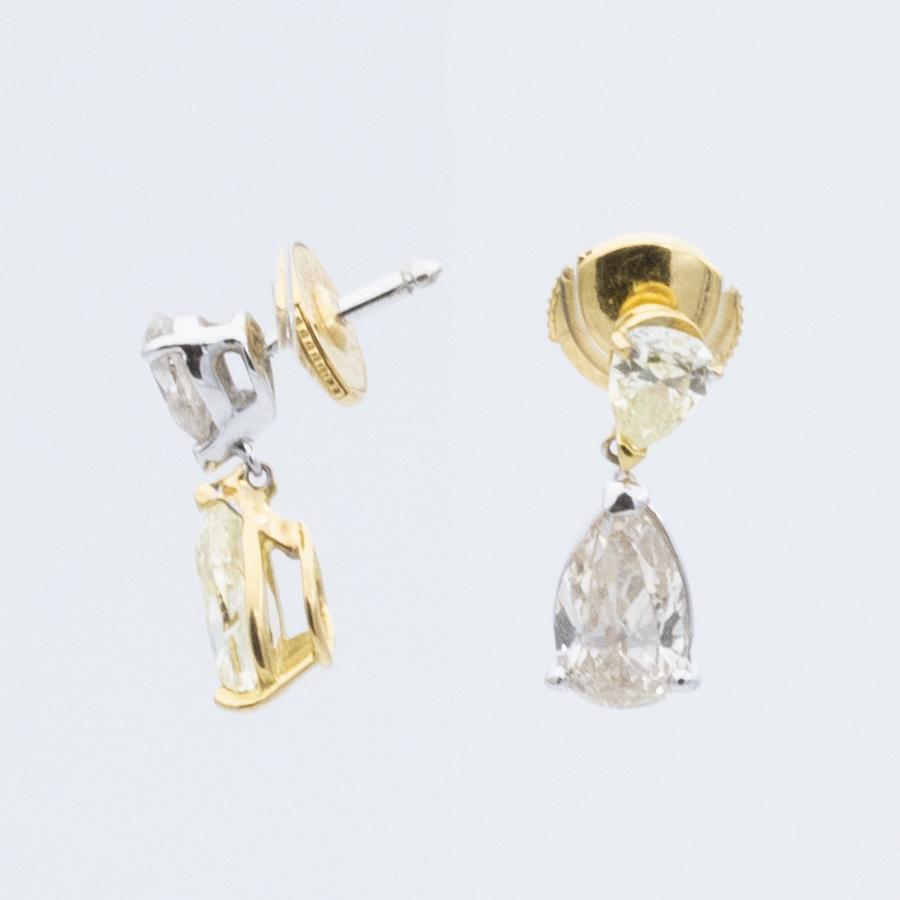 Boucles d'oreilles pendant 2 ors diamants 2 couleurs