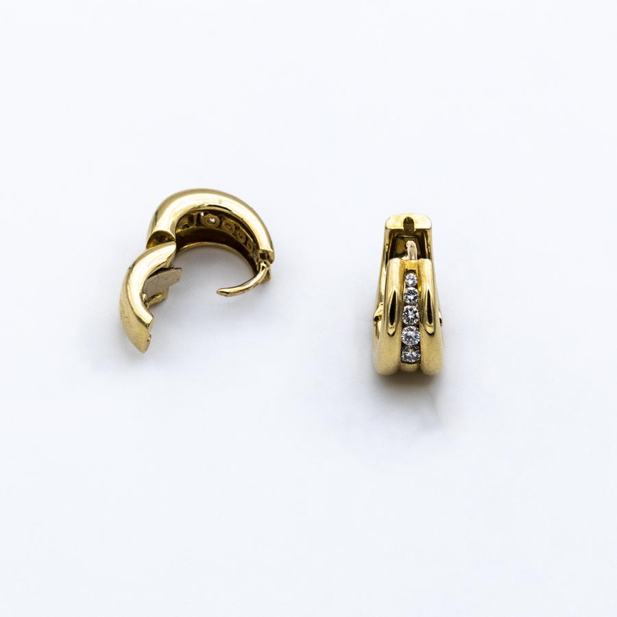 Boucles d'oreilles créoles en or et 10 diamants