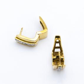 Boucles d'oreilles créoles en or jaune et 10 diamants