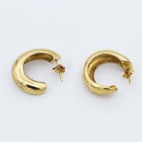Boucles d'oreilles demi-créoles en or jaune et diamants