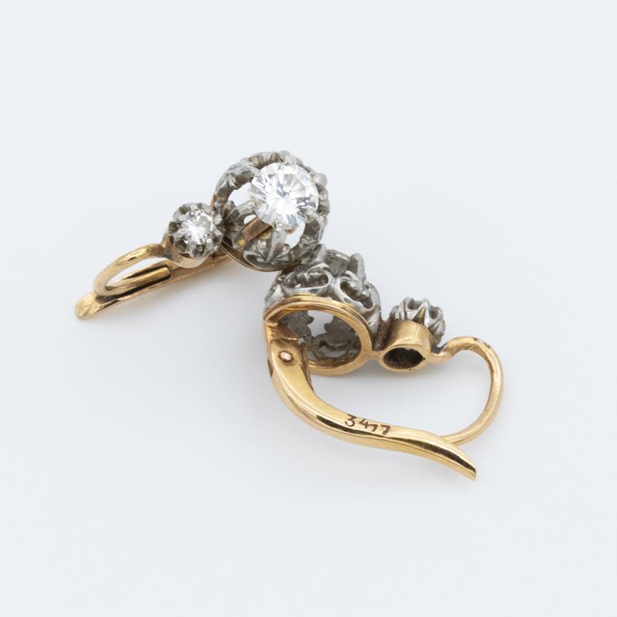Boucles d'oreilles dormeuses 2 ors et diamants