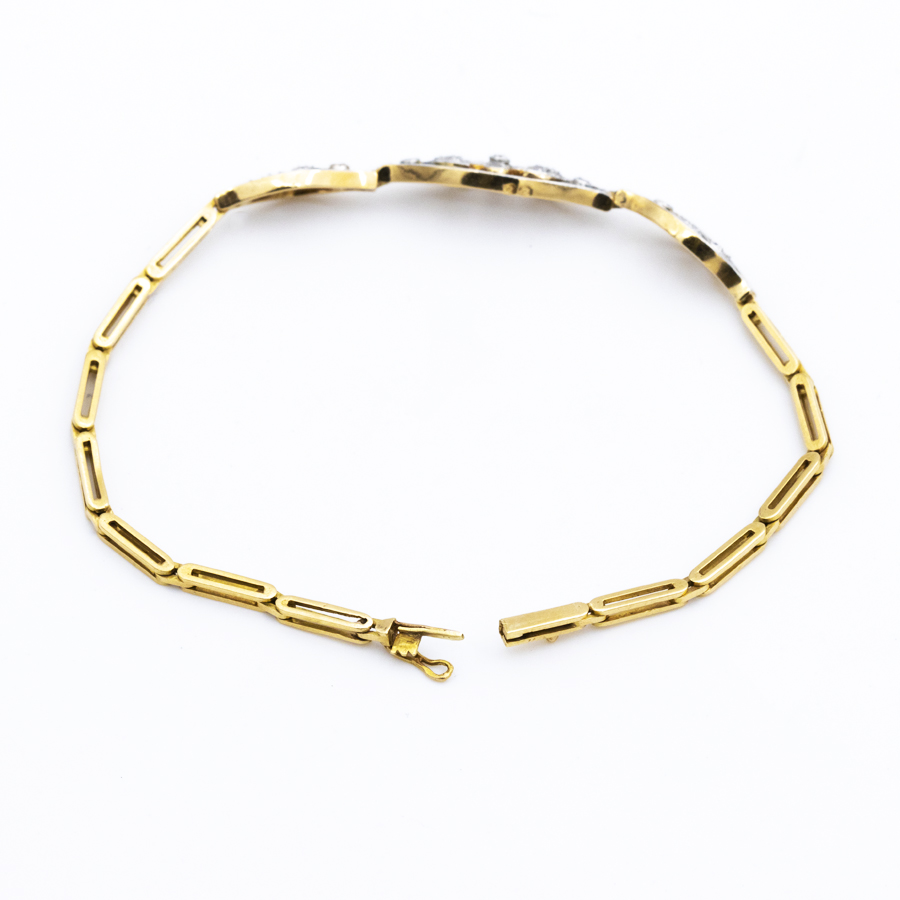 Bracelet ancien articulé en 2 ors et 19 diamants